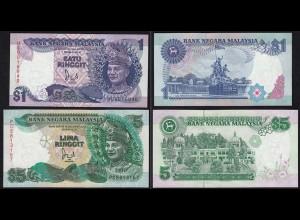 Malaysia 1+5 Ringgit Banknote ND (1991) Pick 27+28c UNC (1) (15004