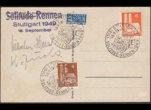 Stuttgart 1949 Solitude Rennen SST und 2 Sieger Autogramme (24589