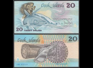 Cook Islands 20 Dollar Banknote 1987 Pick 5a UNC (1) (24615