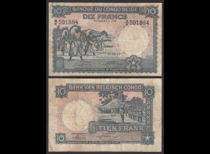 Belgisch Kongo - Belgian Congo 10 Francs 12.05.1952 Pick 14e F (4) (24618