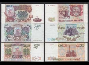 Russland - Russia 5000.10000,50000 Rubel 1993 Pick 258a,259b,260b VF/XF