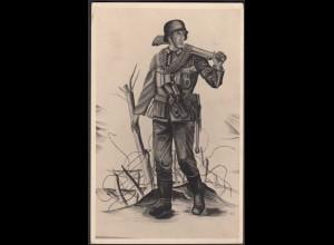 AK NS Militaria Propaganda Karte 3.Reich Soldat mit MP (24461