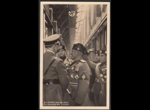 AK NS Propaganda Karte 3.Reich Hitler Treffen mit Mussolini 1937 (24455