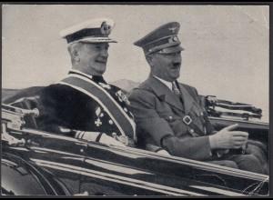 AK NS Militaria Propaganda Karte 3.Reich Hitler + Reichsverweser Horthy (24470