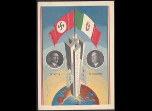 AK NS Militaria Propaganda Karte 3.Reich Hitler-Mussolini 1938 SST (24476