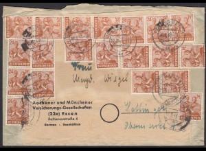 Alliierte Besatzung 22.06.1948 Essen ZEHNFACH-FRANKATUR (20609