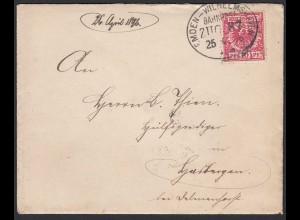 Bahnpost Ovalstempel Emden - Wilhelmshaven ZUG 87 Brief 1896 (20901