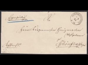 Preussen Umschlag 1864 Königsberg K2 nach Schönfließ (24552