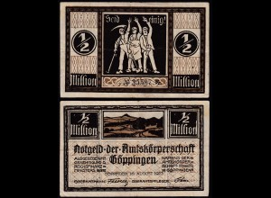 Göppingen Amtskörperschaft 1/2 Million Mark 1923 Notgeld (14852