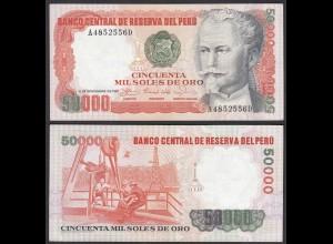 PERU 50.000 Soles de Oro Banknote 1981 PICK 125a VF+ (3+) (24641