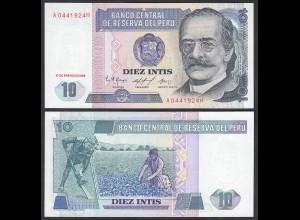 Peru 10 Intis Banknote 1986 UNC (1) Pick 128 (24642
