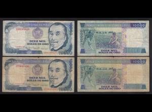 PERU 2 Stück á 10000 10.000 Soles 1981 Pick 124 F (4) (24694
