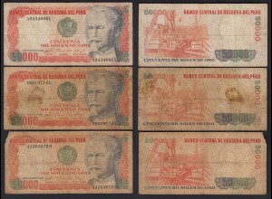 PERU 3 Stück á 50000 50.000 Soles 1984 Pick 125b VG (5) (24695