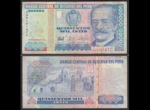 Peru 500000 500.00 Intis Banknote 1986 F- (4-) Pick 146 (24697