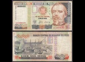 PERU 100000 100.000 Soles 1988 Pick 144A F (4) DE LA RUE (24698
