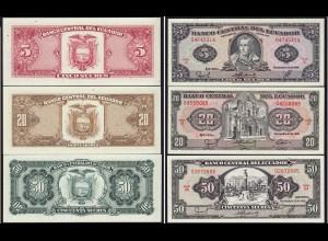 Ecuador 5,20,50 Sucres Banknoten 1988 aUNC (14777