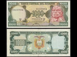 Ecuador 1000 Sucres Banknoten 1986 Pick 125a VF (3) (14779