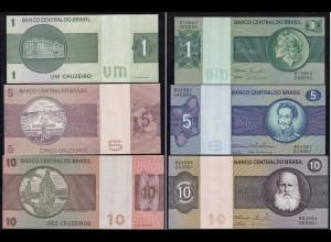 Brasilien - Brazil 1,5,10 Cruzeiro Banknoten AU (1-) (14791