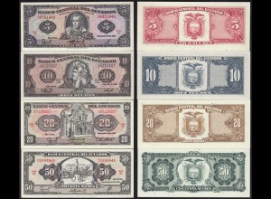 Ecuador 5,10,20,50 Sucres Banknoten 1986/88 UNC (14773