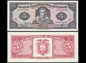 Ecuador 5 Sucres Banknoten 1988 Pick 113d UNC (1) (14772