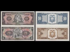 Ecuador 10 + 20 Sucres Banknoten 1983 Pick 114b + 115b UNC (1) (14771