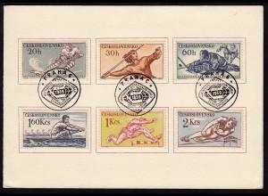 SPORT 1959 Sonderkarte Tscheckoslowakei Eishokey Leichtatlethik (16480