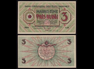 Lettland - Latvia 3 Rublis 1919 Riga Soviet Governement Pick R2 XF (2) (16140