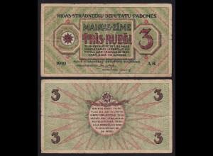 Lettland - Latvia 3 Rublis 1919 Riga Soviet Governement Pick R2 F (4) (16137