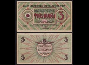 Lettland - Latvia 3 Rublis 1919 Riga Soviet Governement Pick R2 VF (3) (16136