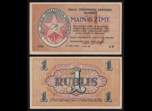 Lettland - Latvia 1 Rubli 1919 Riga Soviet Governement Pick R1 aUNC (1-)