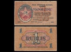 Lettland - Latvia 1 Rubli 1919 Riga Soviet Governement Pick R1 F/VF (3/4)