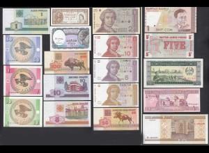 19 Stück verschiedene Banknoten der Welt UNC (24701