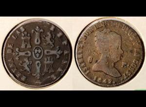 Spanien Spain 8 Maravedis 1842 Isabel II. (1833-1868) Ø ca. 28,5 mm (r690
