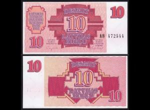 Lettland - Latvia 10 Rubel Banknoten 1992 Pick 38 UNC (1) (16124