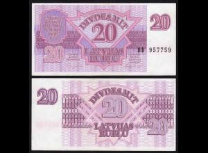 Lettland - Latvia 20 Rubel Banknoten 1992 Pick 39 UNC (1) (16125