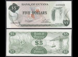 GUYANA 5 DOLLAR BANKNOTE 1983 Pick 22d sig.6 UNC (1) (16091