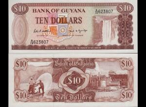 GUYANA 10 DOLLAR BANKNOTE Pick 23d sig.7 UNC (1) (16089