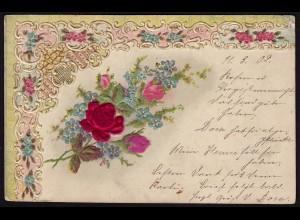 AK schöne alte Textil Blumen Prägekarte 1902 (16070