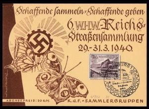 NS 6. WHW Reichs Straßensammlung 29.-31.3.1940 Duisburg KDF Sammlergruppen