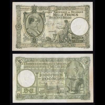 Belgien - Belgium 1000 Francs/200 Belgas Banknote 1943 Pick 110 VF+ (3+)