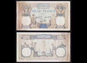 Frankreich - France 1000 Francs 1940 Pick 90c F/VF (3/4) (16176