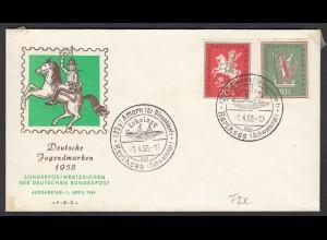 BRD Bund 1958 Mi. 286/87 Volkslieder für die Jugend auf FDC Amern (23497