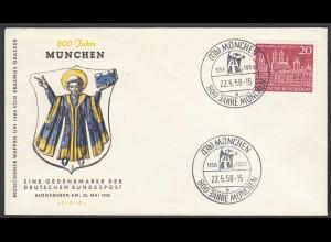 BRD Bund 1958 Mi. 289 800 Jahre München auf FDC (23506