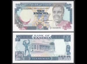 Sambia - Zambia 10 Kwacha Banknote Pick 31b 1989-91 UNC (1) (24753