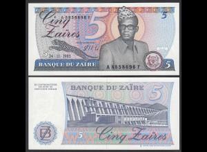 ZAIRE 5 Zaires Banknote 1985 Pick 26A UNC (1) (24754