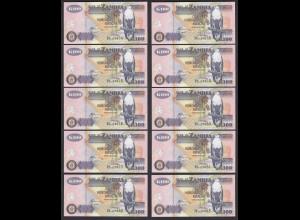 Sambia - Zambia 10 Stück á 100 Kwacha 2008 UNC (1) Pick 38g (24775