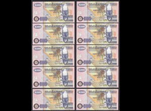 Sambia - Zambia 10 Stück á 100 Kwacha 1992 UNC (1) Pick 38b (24776