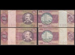 Brasilien - Brazil 100 Cruzados Banknote (1981) Pick 195 Ab F (4) Sig.20