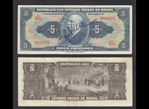 Brasilien - Brazil 5 Cruzaros Banknote (1943) Pick 134a VF (3) (24810