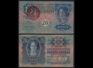Ungarn - Hungary 20 Korona 1920 (1913) mit Aufdruck Magyarorszag VF (3) Pick 20